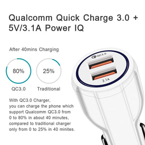 Turbo Power 3 | 3-in-1 Car Charger USB / Type C Smart Quick Charger