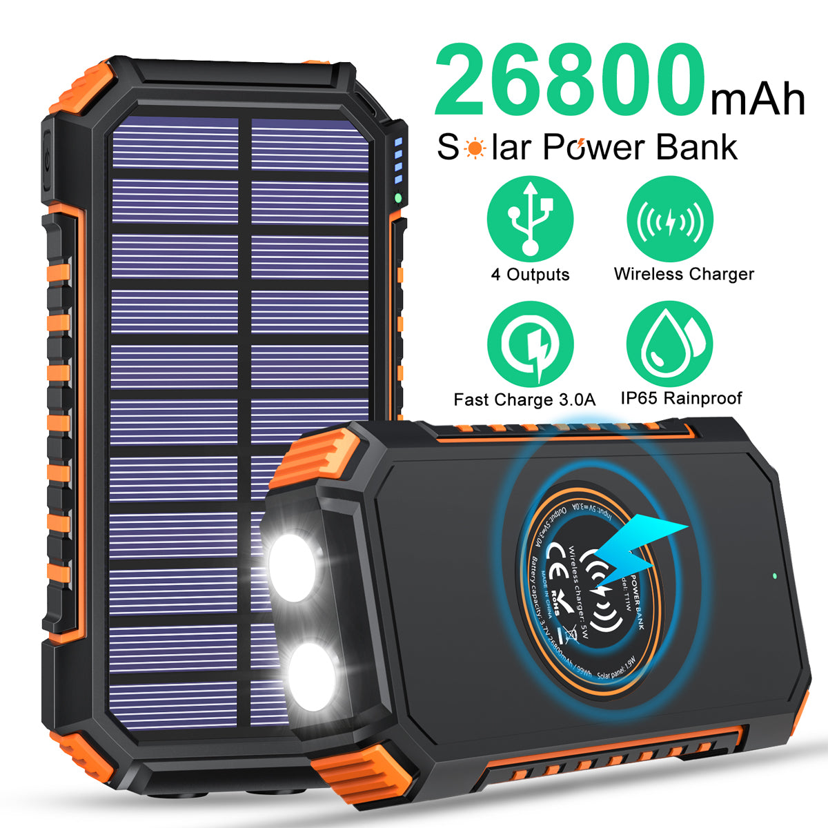 Solar Charger 26800mAh High Capacity, ADDTOP Wireless Portable Charger USB C Power Bank with 4 Outputs, Fast Charging Phone Charger for iPhone Samsung iPad and Outdoor Waterproof Camping/Hiking