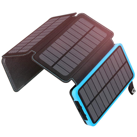 ADDTOP Solar Charger 25000mAh Portable Power Bank with 4 Solar Panels Waterproof External Battery