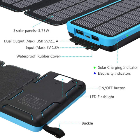 ADDTOP Solar Charger 24000mAh Waterproof Power Bank High Capacity Portable Phone Charger