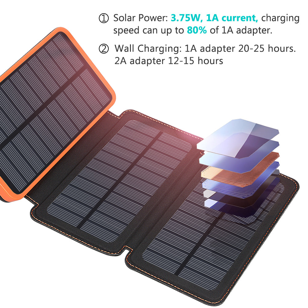 Solar Charger 24000mAh ADDTOP Waterproof Portable Power Bank Battery | HI S024
