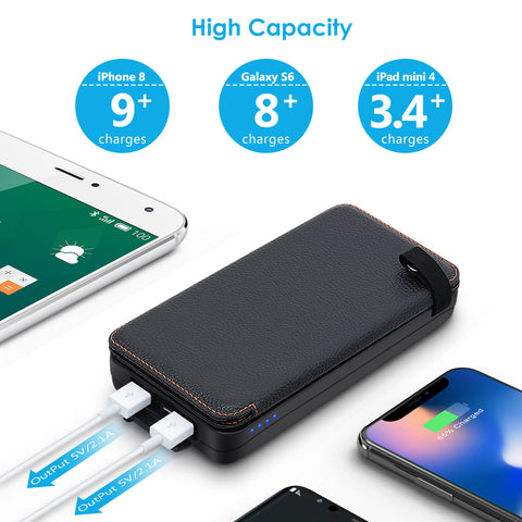 Solar Charger 24000mAh Portable Phone Charger Power Bank with 3 Solar Panels Waterproof External Battery Pack-ADDTOP HI-S024