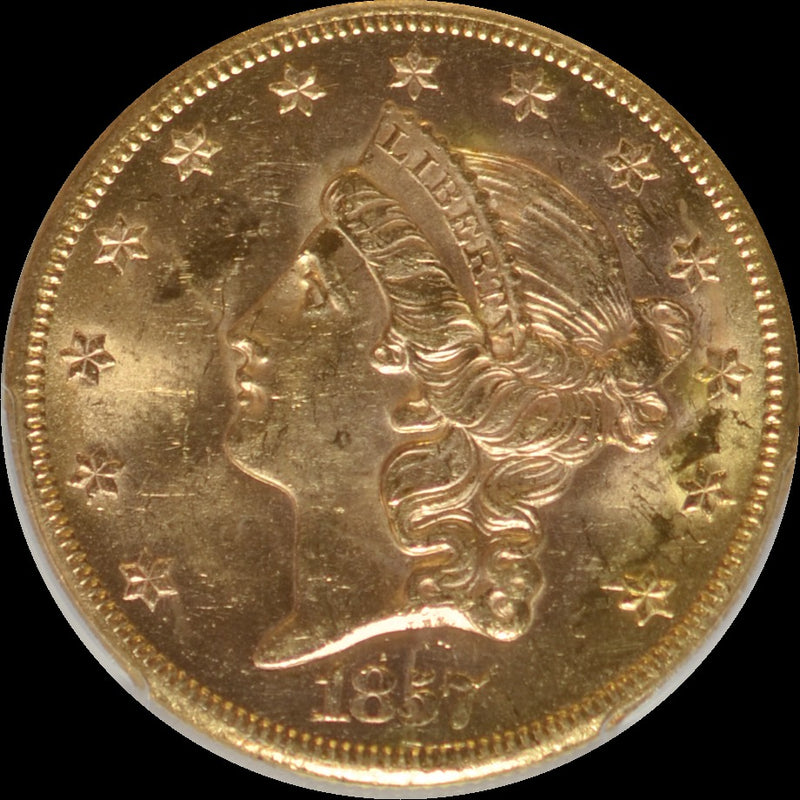1857-S $20 Double Eagle S.S. Central Amercia PCGS MS61