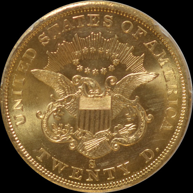 1857-S $20 Double Eagle S.S. Central Amercia PCGS MS63