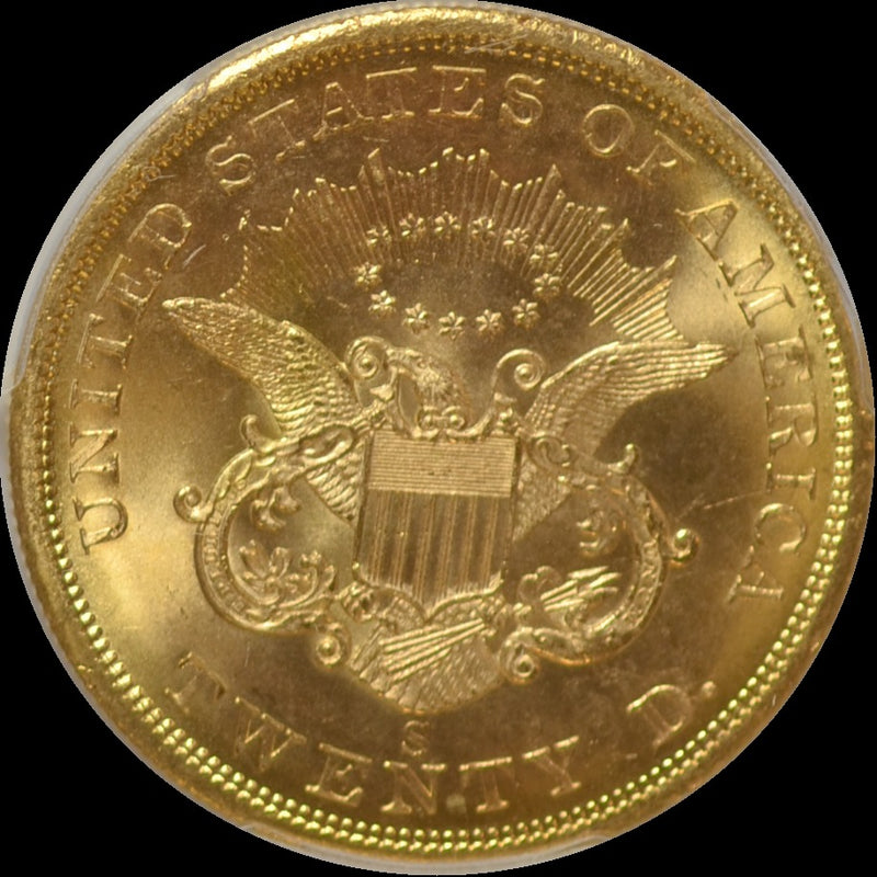 1857-S $20 Double Eagle S.S. Central Amercia PCGS MS65+