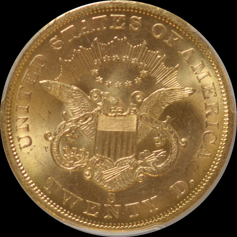 1857-S $20 Double Eagle S.S. Central Amercia PCGS MS63+