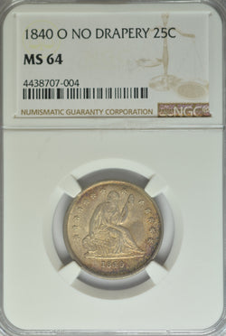 1840-O Seated Quarter  NGC MS64 No Drapery