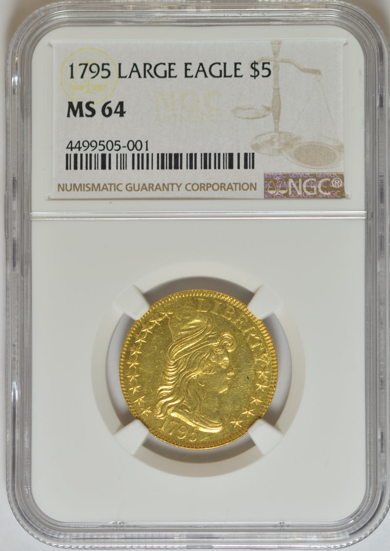 1795 Draped Bust $5 Gold Large Eagle NGC MS64