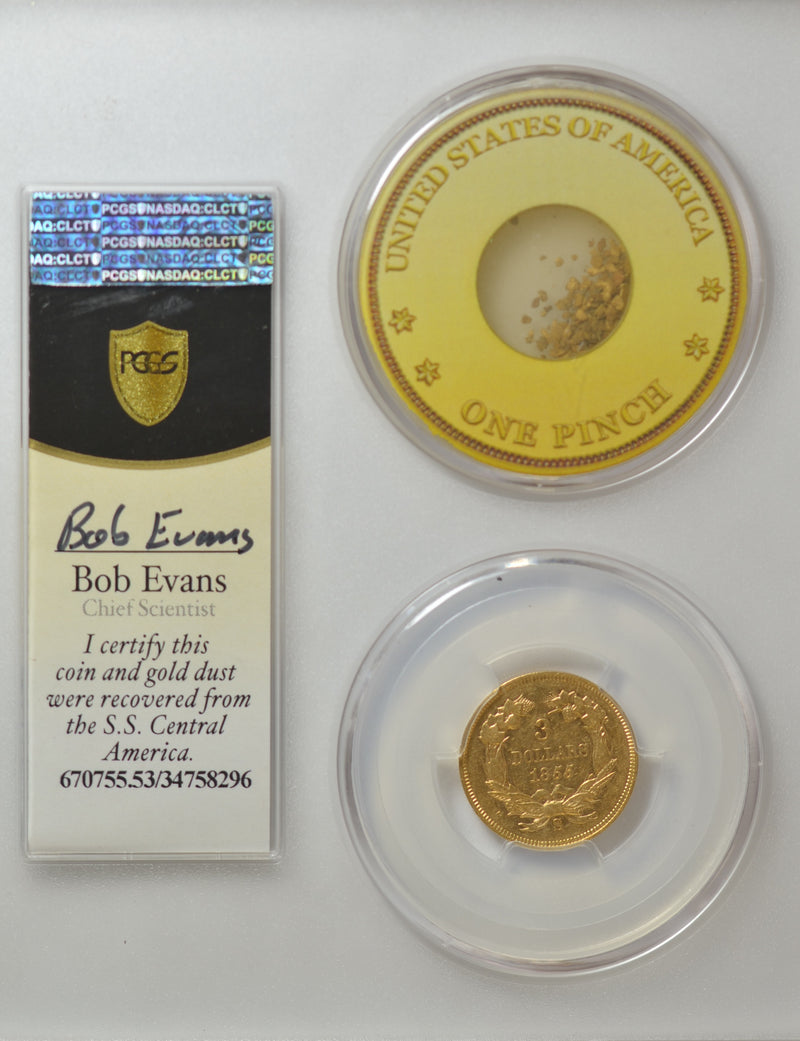 1855-S $3 Dollar Gold   S.S. Central America PCGS AU53