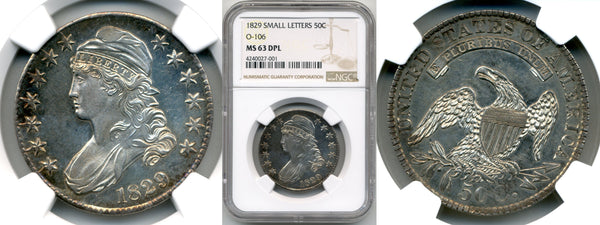 1829 50C Small Letters NGC MS 63 DPL
