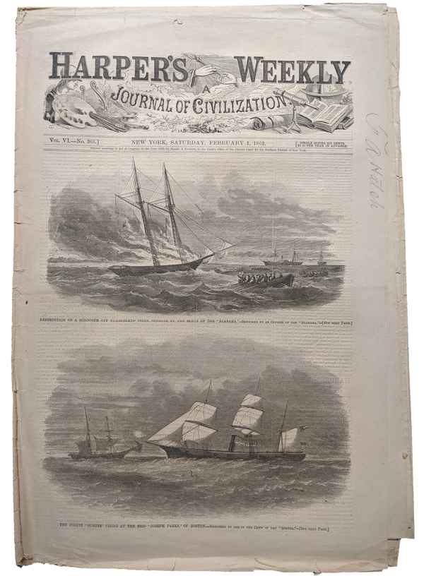 1862 Harper's Weekly    dated Feb 1