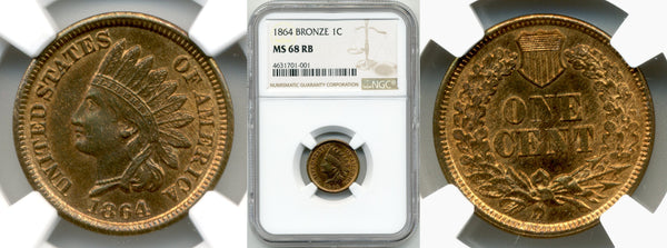 1864 Bronze Cent NGC MS 68 RB