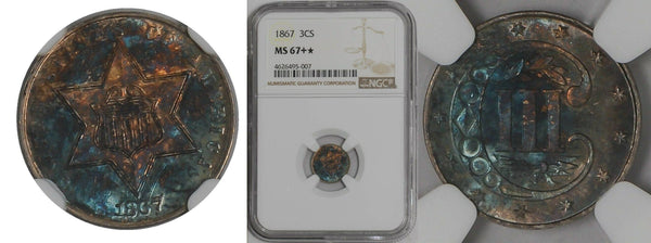 1867 3 Cent Silver NGC MS 67+ (PLUS-STAR)