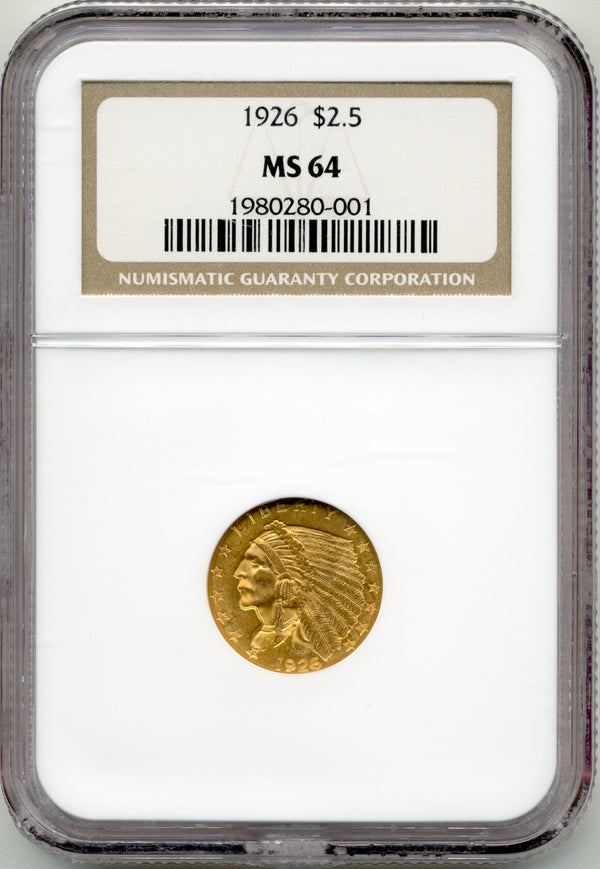 Common Date Indian Head $2.5 Gold Quarter Eagle MS64