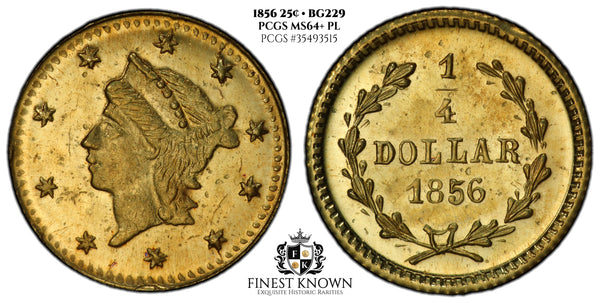 1856 California Fractional Gold .25 Cent BG#229 PCGS MS64+ PL