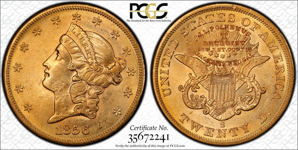 1856-S $20 Liberty PCGS AU58 S.S Central Amercia with Counterstamp