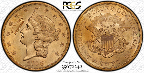 1856-S $20 Liberty PCGS MS60 S.S Central Amercia with Counterstamp