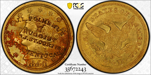 1854-O $2.5 Gold Liberty PCGS XF45 S.S Central Amercia with Counterstamp