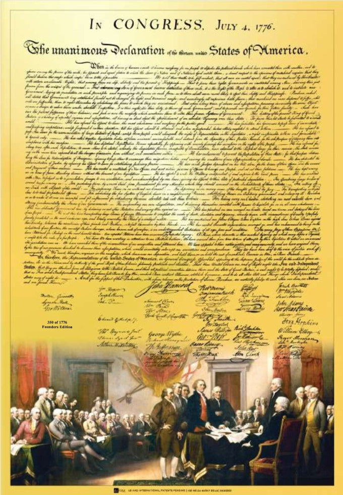 Declaration of Independence Masterfully Recreated in 24k Gold!