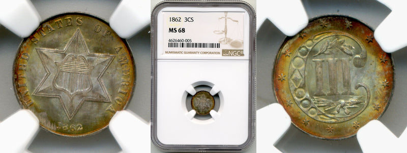 1862 3CS NGC MS68 Civil War FINEST KNOWN