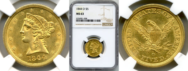 1844-O $5 Gold Liberty NGC MS63