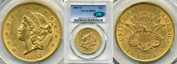 1853/2 $20 Double Eagle PCGS MS61 CAC