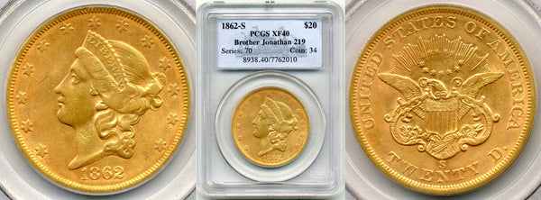 1862-S  $20 Double Eagle Brother Jon. PCGS XF40