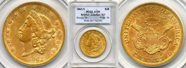 1863-S $20 Double Eagle Brother Jon. PCGS AU50