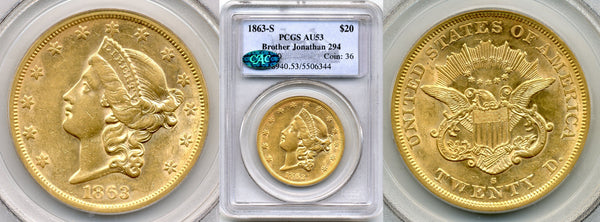 1863-S $20 Double Eagle Brother Jon. PCGS AU53
