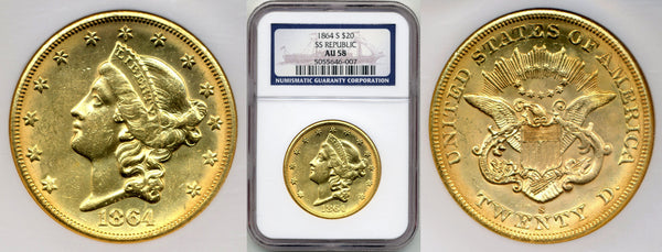 1864-S $20 Double Eagle S.S. Republic NGC AU58