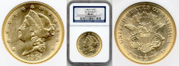1864-S $20 Double Eagle S.S. Republic NGC MS61