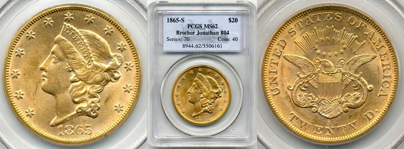 1865-S $20 Double Eagle Brother Jon. PCGS MS62