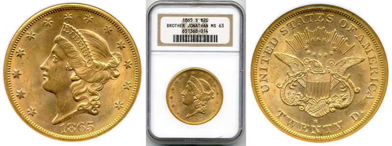 1865-S $20 Double Eagle Brother Jon. NGC MS63