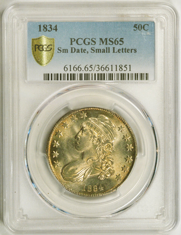 1834 Capped Bust Half Dollar PCGS MS65 small date & letters