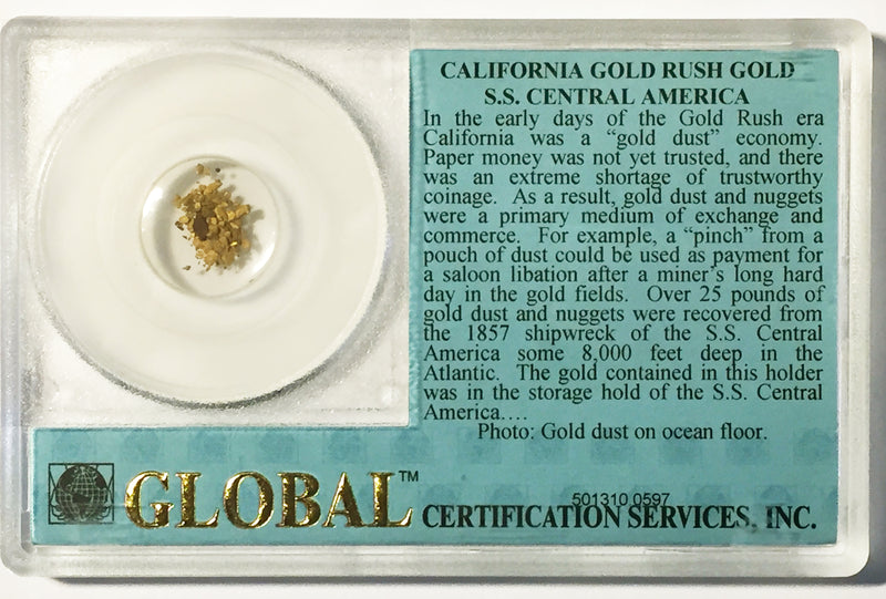 49'er California Gold Dust Recovered from the S.S. Central America