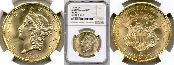 1857-S $20 Double Eagle S.S. Central Amercia NGC MS67