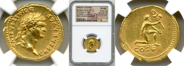 Domitian Aureus| NGC Ch AU Strike: 5/5, Surface: 4/5