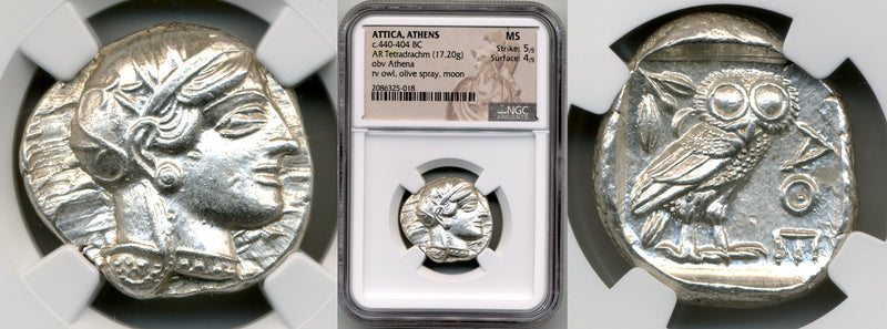 Ancient Athenian Owl Tetradrachm NGC MS 5/5 Strike & 4/5 Surface