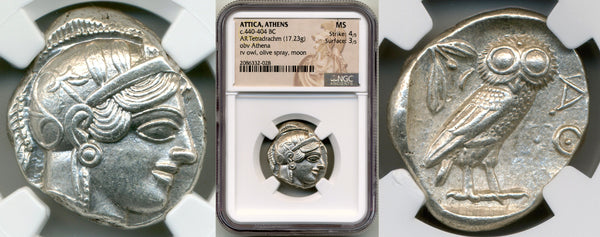 Ancient Athenian Owl Tetradrachm NGC Mint State Strike 4/5 Surface 3/5
