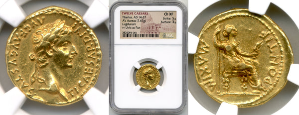 Tiberius Aureus / NGC Choice XF Strike: 5/5, Surface: 3/5