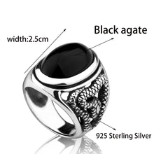 Load image into Gallery viewer, Black Stone Snake Ring