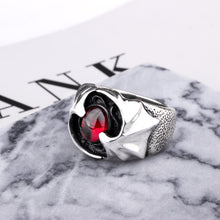 Load image into Gallery viewer, Gothic Punk Flying Bat Garnet Ring