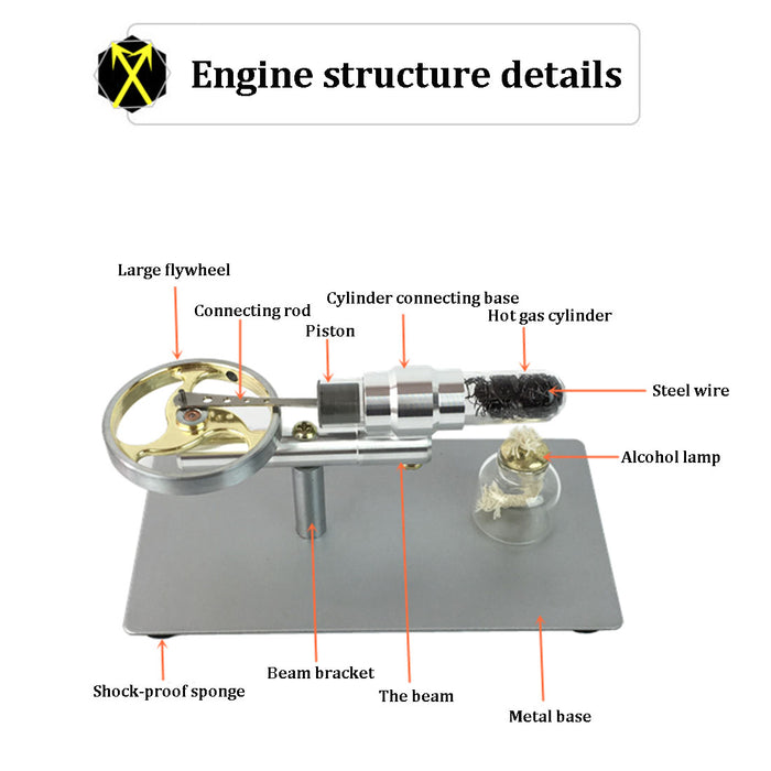 Stirling Engine Kit Single Cylinder Big Flywheel Travelling Wave Thermoacoustic Engine - stirlingkit