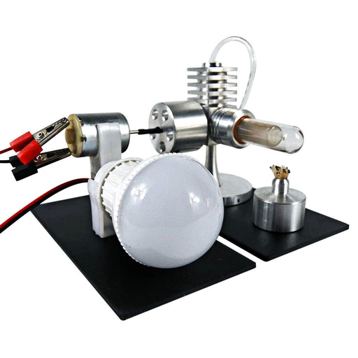 Polished Stirling Engine Model All-aluminum Single-cylinder Stirling Kit Toy with Generator and LED Bulb--Stirlingkit - stirlingkit