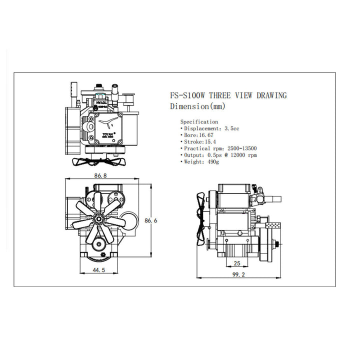 Water Cooled 4 Stroke RC Engine Toyan Four Stroke Methanol Model Engine - FS-S100(W) - stirlingkit