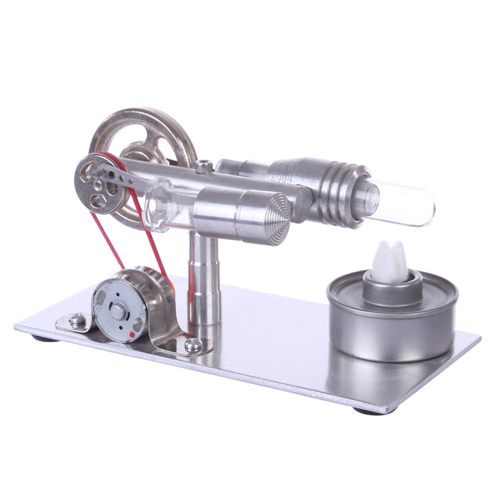 Metal Stirling Engine Model External Combustion With Light Bulb Developmental Toy - stirlingkit