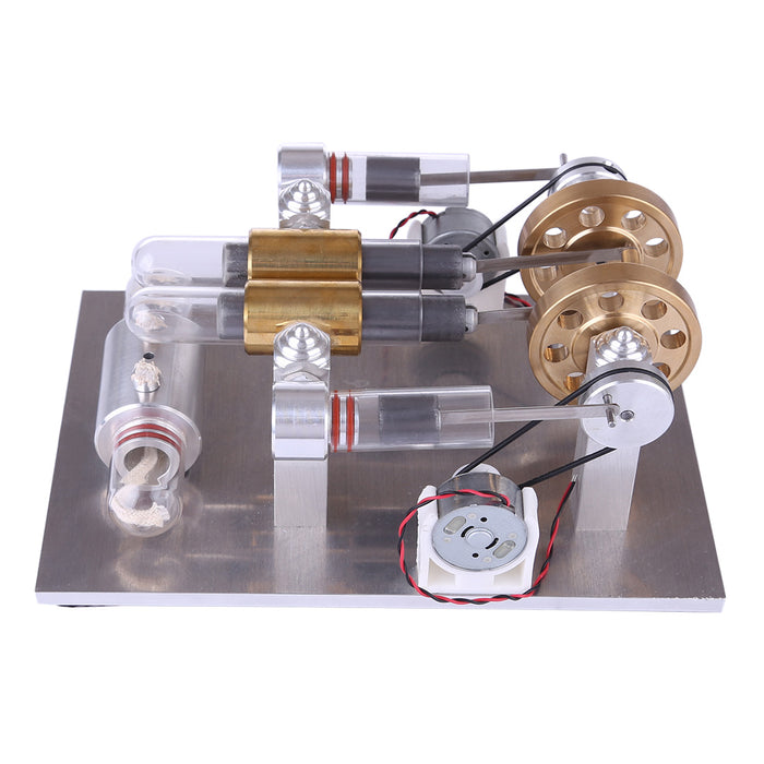Hot Air Stirling Engine High-Power Quartz Double-Cylinder Stirling Generator Model Toy - stirlingkit