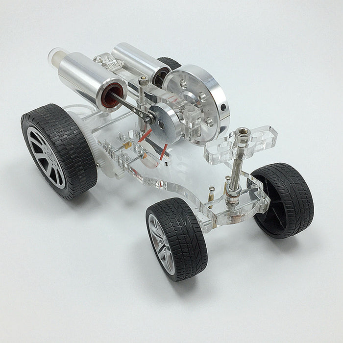 Stirling Engine Car Model Kit Physical Experiment Engine with Advanced Rubber Wheel - stirlingkit