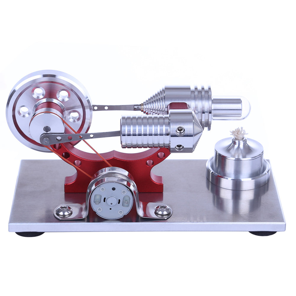 Hot Air Stirling Engine Colourful LED Single Flywheel Education Toy Electricity Power Generator - stirlingkit