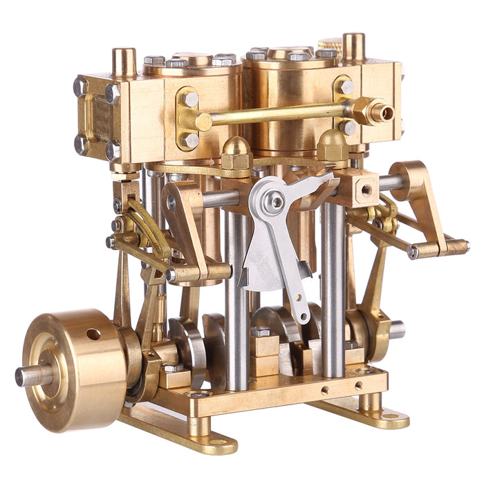 Two Cylinder Reciprocating Steam Engine Model Mini Brass Double Cylinder Reciprocating Engine Model - stirlingkit